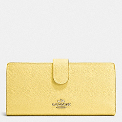 COACH F52326 Skinny Wallet In Embossed Textured Leather LIGHT GOLD/PALE YELLOW