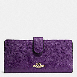 COACH F52326 Skinny Wallet In Embossed Textured Leather LIGHT GOLD/VIOLET