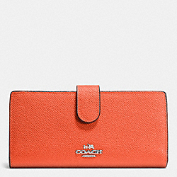 COACH F52326 Skinny Wallet In Embossed Textured Leather SILVER/CORAL