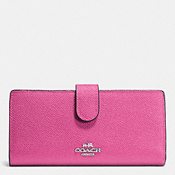 COACH F52326 Skinny Wallet In Embossed Textured Leather SILVER/FUCHSIA