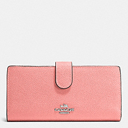 COACH F52326 Skinny Wallet In Embossed Textured Leather SILVER/PINK