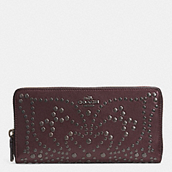 COACH F52328 Mini Studs Accordion Zip Wallet In Leather QBOXB