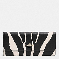 COACH F52329 Soft Wallet In Zebra Embossed Leather LIGHT GOLD/BLACK WHITE