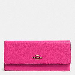 COACH F52331 Soft Wallet In Embossed Textured Leather LIGHT GOLD/PINK RUBY