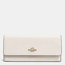COACH F52331 Soft Wallet In Embossed Textured Leather LIGHT GOLD/CHALK