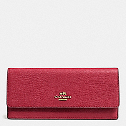 COACH F52331 Soft Wallet In Embossed Textured Leather LIGHT GOLD/RED CURRANT