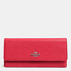 COACH F52331 Soft Wallet In Crossgrain Leather SILVER/TRUE RED