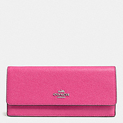 COACH F52331 Soft Wallet In Embossed Textured Leather SILVER/DAHLIA