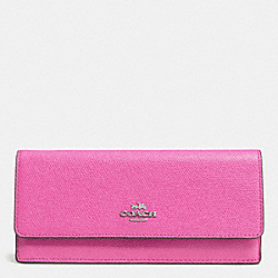 COACH F52331 Soft Wallet In Embossed Textured Leather SILVER/FUCHSIA