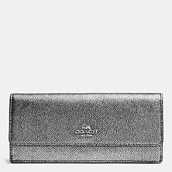 COACH F52331 Soft Wallet In Embossed Textured Leather SILVER/SILVER