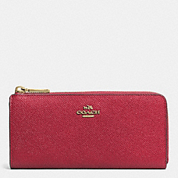 COACH F52333 Slim Zip Wallet In Embossed Textured Leather LIGHT GOLD/RED CURRANT