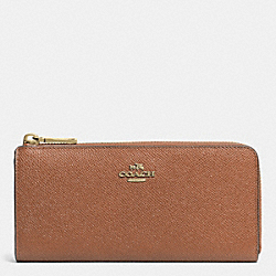 COACH F52333 Slim Zip Wallet In Embossed Textured Leather LIGHT GOLD/SADDLE