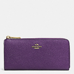 COACH F52333 Slim Zip Wallet In Embossed Textured Leather  LIGHT GOLD/VIOLET