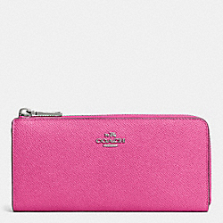 COACH F52333 Slim Zip Wallet In Embossed Textured Leather SILVER/FUCHSIA