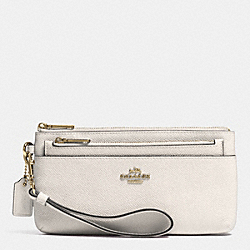 COACH F52334 Zippy Wallet With Pop-up Pouch In Embossed Textured Leather LIGHT GOLD/CHALK