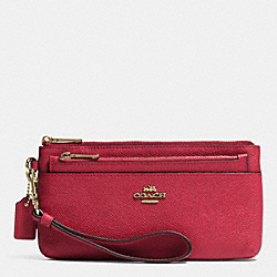 COACH F52334 Zippy Wallet With Pop-up Pouch In Embossed Textured Leather LIGHT GOLD/RED CURRANT