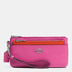 COACH F52334 Zippy Wristlet With Pop-up Pouch In Embossed Textured Leather  SILVER/FUCHSIA