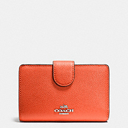 COACH F52336 Medium Zip Around Wallet In Crossgrain Leather SILVER/CORAL