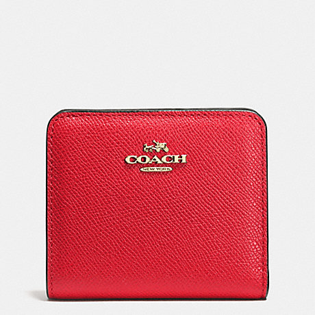 COACH f52339 EMBOSSED SMALL WALLET IN LEATHER  LIGHT GOLD/RED