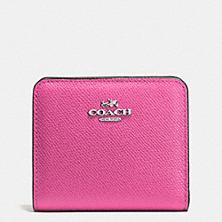 COACH F52339 Embossed Small Wallet In Leather SILVER/FUCHSIA