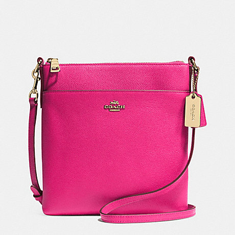 COACH F52348 NORTH/SOUTH SWINGPACK IN EMBOSSED TEXTURED LEATHER -LIGHT-GOLD/PINK-RUBY