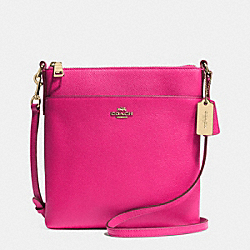 NORTH/SOUTH SWINGPACK IN EMBOSSED TEXTURED LEATHER - f52348 -  LIGHT GOLD/PINK RUBY