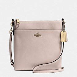 NORTH/SOUTH SWINGPACK IN EMBOSSED TEXTURED LEATHER - f52348 - LIGHT GOLD/GREY BIRCH