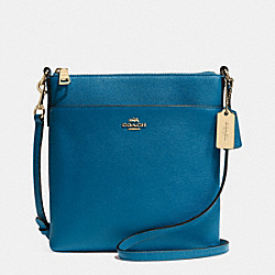 NORTH/SOUTH SWINGPACK IN EMBOSSED TEXTURED LEATHER - f52348 - LIGHTGOLD/DENIM