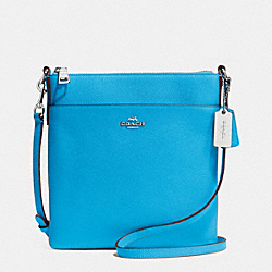 NORTH/SOUTH SWINGPACK IN EMBOSSED TEXTURED LEATHER - f52348 - SILVER/AZURE
