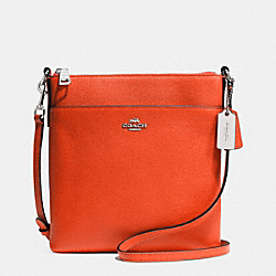 COACH F52348 Courier Crossbody In Crossgrain Leather  SILVER/CORAL
