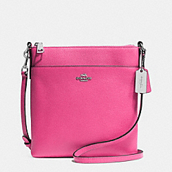 NORTH/SOUTH SWINGPACK IN EMBOSSED TEXTURED LEATHER - f52348 - SILVER/DAHLIA