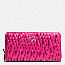 COACH F52351 Accordion Zip Wallet In Gathered Leather LIGHT GOLD/PINK RUBY
