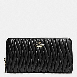 COACH F52351 Accordion Zip Wallet In Gathered Leather LIGHT GOLD/BLACK
