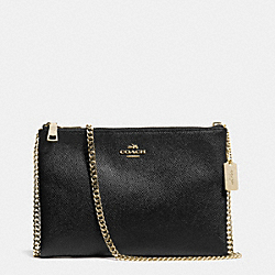 COACH F52357 Zip Top Crossbody In Leather  LIGHT GOLD/BLACK