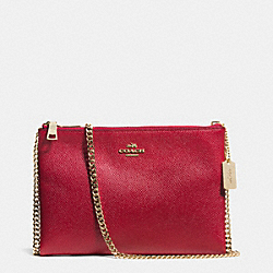 COACH F52357 Zip Top Crossbody In Leather LIGHT GOLD/RED CURRANT