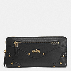 COACH F52362 Rivets Accordion Zip Around Wallet In Leather  LIGHT GOLD/BLACK