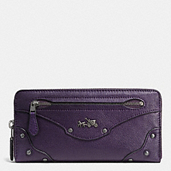 COACH F52362 Rivets Accordion Zip Around Wallet In Leather  QBVIO