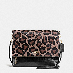 FOLDOVER CROSSBODY IN PRINTED HAIRCALF - f52369 - LIGHT GOLD/BROWN MULTI