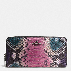 ACCORDION ZIP WALLET IN PYTHON EMBOSSED LEATHER - f52370 - QBMTI