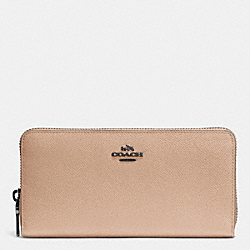COACH F52372 Accordion Zip Wallet In Embossed Textured Leather DARK GUNMETAL/BEECHWOOD