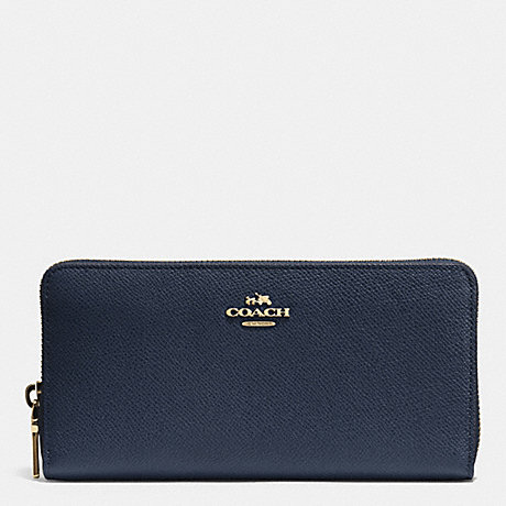 COACH f52372 ACCORDION ZIP WALLET IN CROSSGRAIN LEATHER LIGHT GOLD MIDNIGHT  NAVY 3043a4a8c9de7