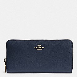 COACH F52372 Accordion Zip Wallet In Crossgrain Leather LIGHT GOLD/MIDNIGHT NAVY