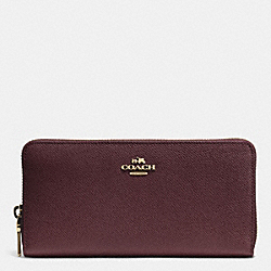 COACH F52372 Accordion Zip Wallet In Embossed Textured Leather LIGHT GOLD/OXBLOOD