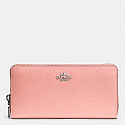 COACH F52372 Accordion Zip Wallet In Embossed Textured Leather SILVER/BLUSH