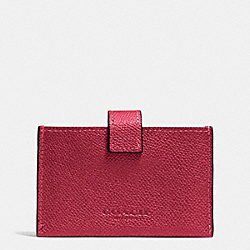 COACH F52373 Accordion Business Card Case In Embossed Textured Leather LIGHT GOLD/RED CURRANT