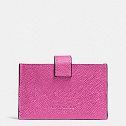 COACH F52373 Accordion Business Card Case In Embossed Textured Leather SILVER/FUCHSIA