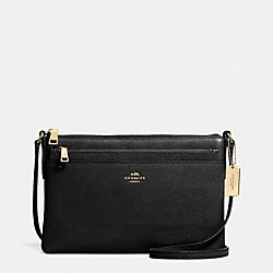 SWINGPACK WITH POP-UP POUCH IN EMBOSSED TEXTURED LEATHER - f52377 - LIGHT GOLD/BLACK