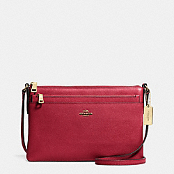 SWINGPACK WITH POP-UP POUCH IN EMBOSSED TEXTURED LEATHER - f52377 - LIGHT GOLD/RED CURRANT