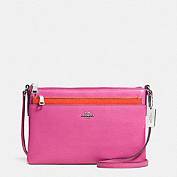 SWINGPACK WITH POP-UP POUCH IN EMBOSSED TEXTURED LEATHER - f52377 - SILVER/FUCHSIA