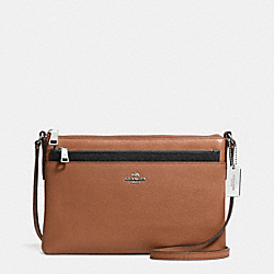 SWINGPACK WITH POP-UP POUCH IN EMBOSSED TEXTURED LEATHER - f52377 - SILVER/SADDLE